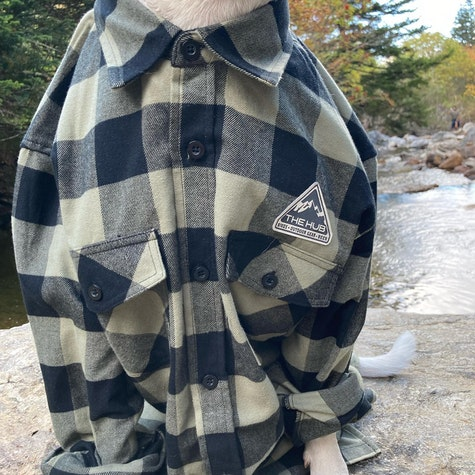 NEW flannels in stock just in time for the cooler fall weather 🍂 Three color options available for all your fall wardrobe needs   #bikesbeersanddogs #thehubpisgah #thepisgahtavern #dogmodels